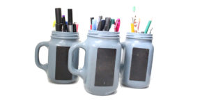 DiY painted jam jar pencil holder