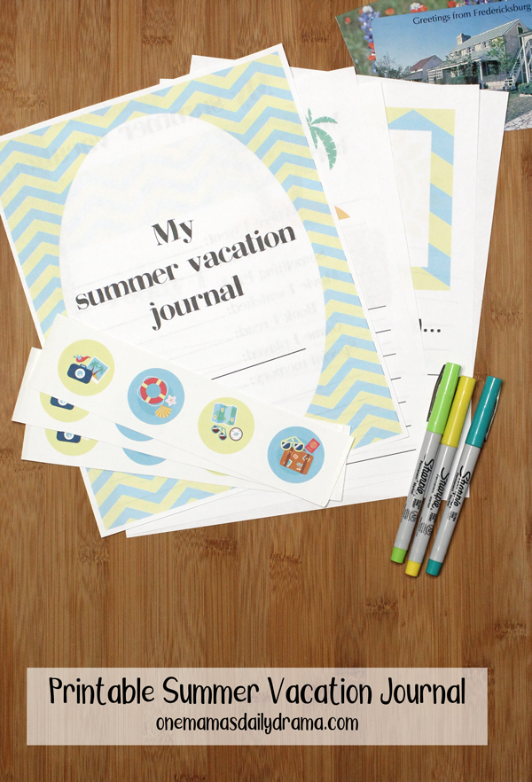 printed summer vacation journal pages stacked together with stickers, pens, and postcards