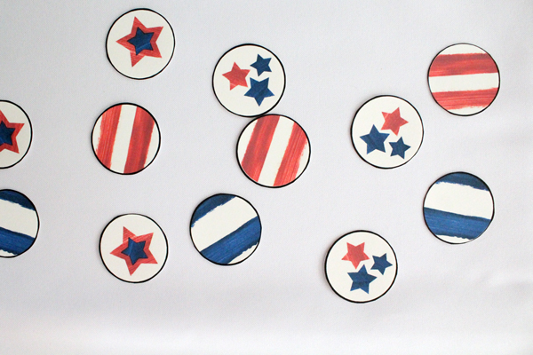 closeup of red, white, and blue party circles