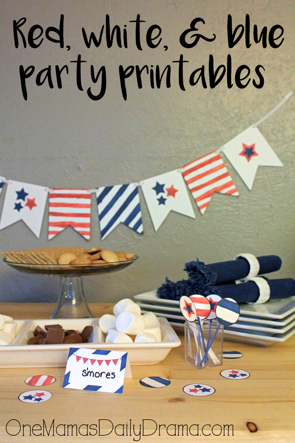 Red, white, and blue party printables   3 pages of patriotic party supplies from OneMamasDailyDrama.com
