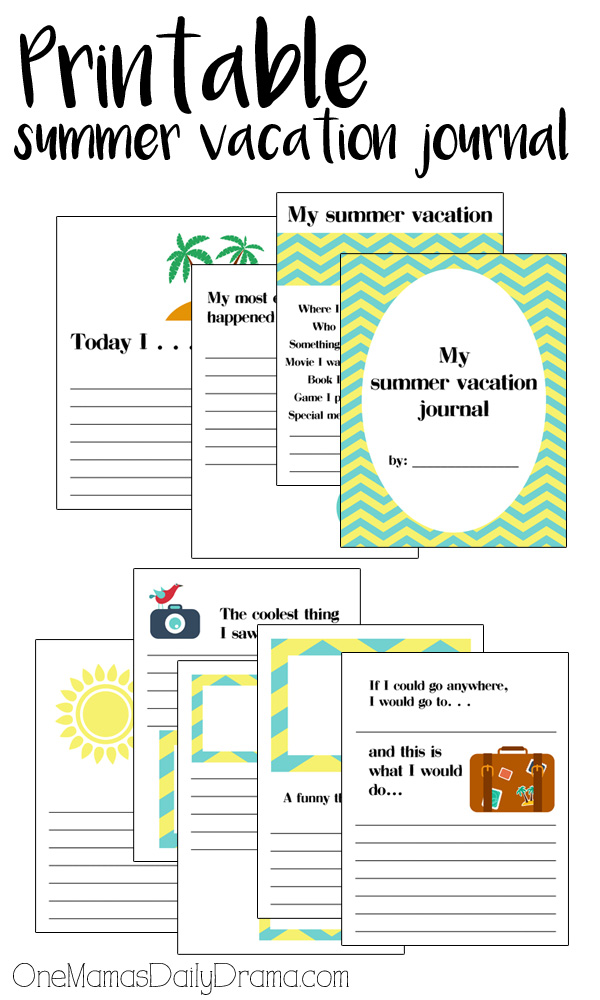Printable summer vacation journal for kids