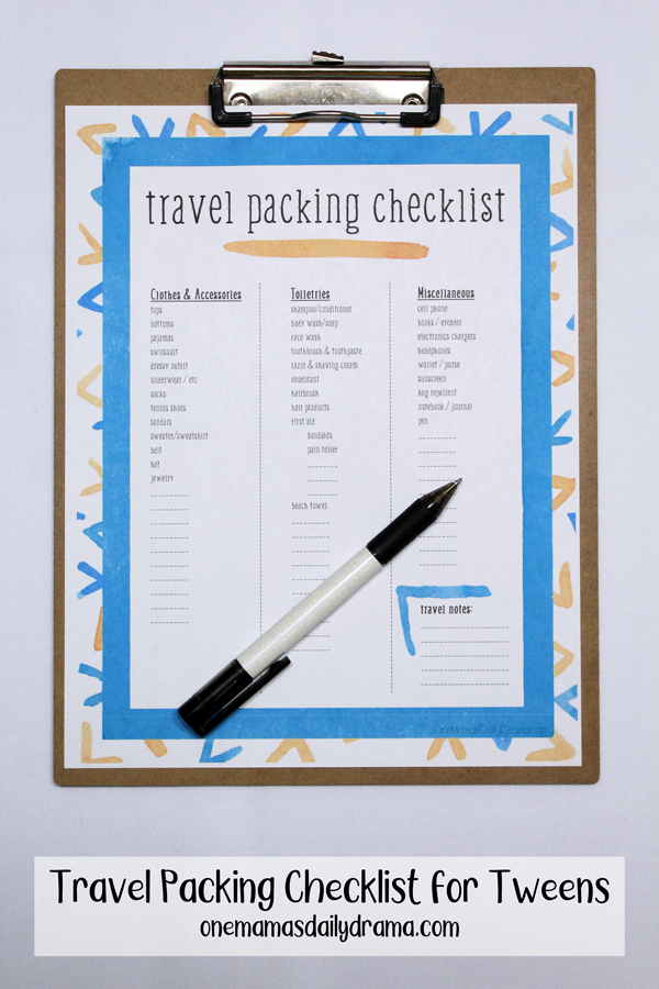 travel packing checklist on a clipboard