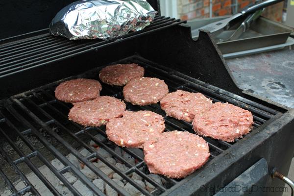Greek turkey burgers on the grill