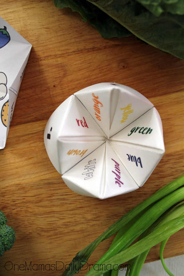 Pick-a-veggie printable fortune game colors