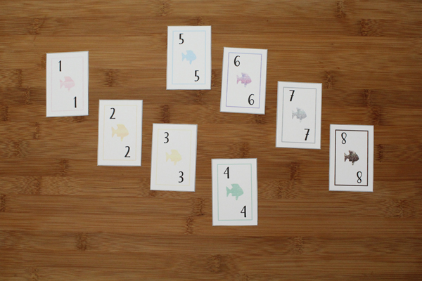 go fish card game cards numbered 1 through 8