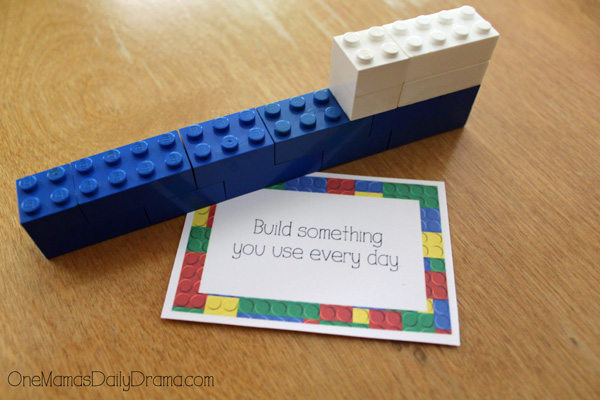 "a challenge card that reads ""Build something you use every day"" next to a blue and white brick toothbrush"