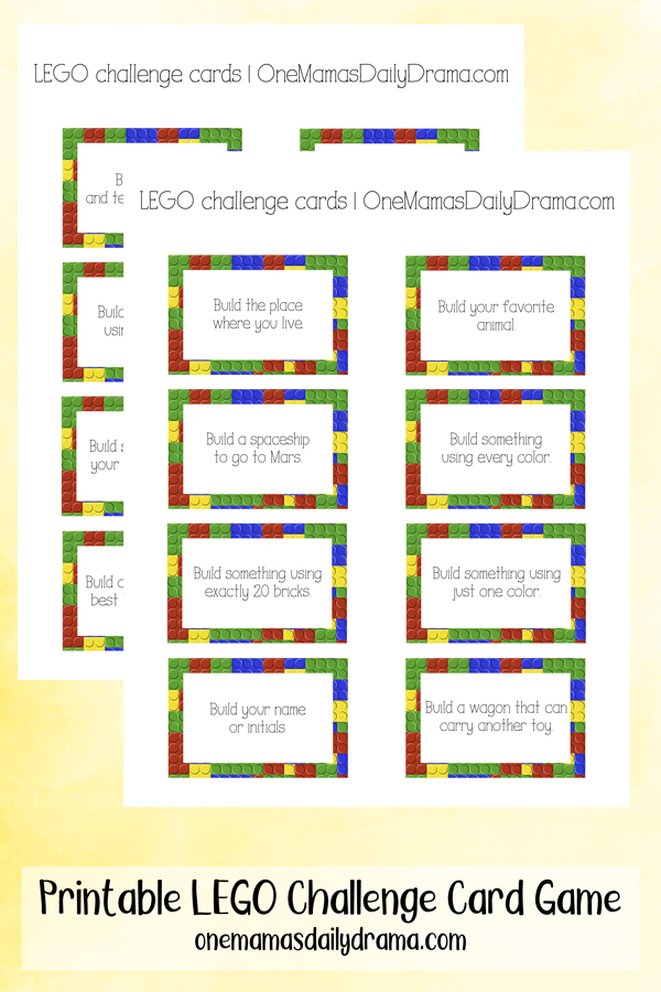 photo relating to Lego Printable titled Printable LEGO Situation Card Video game for All Ages
