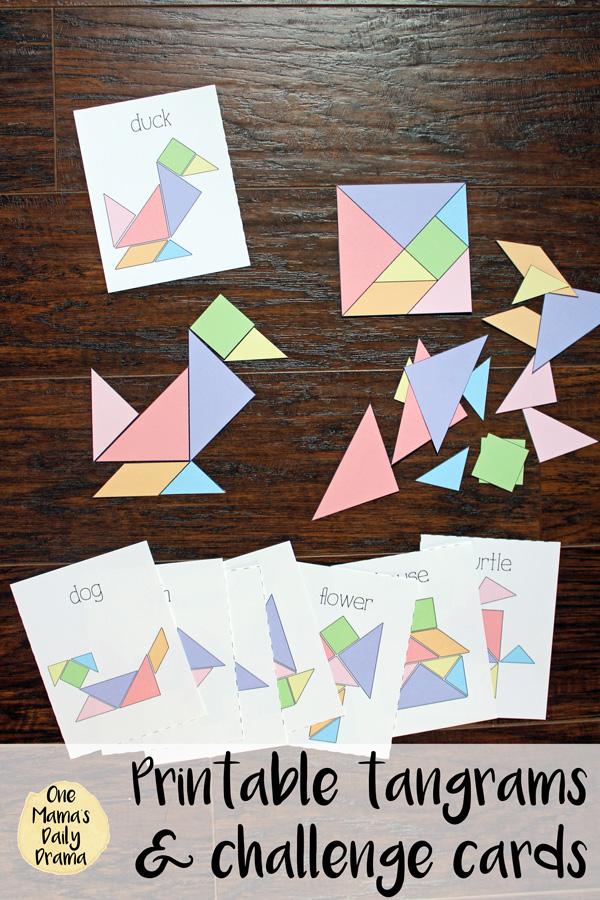Printable tangrams and challenge cards kids game