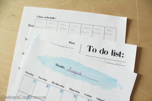Printable teen / tween student planner for school