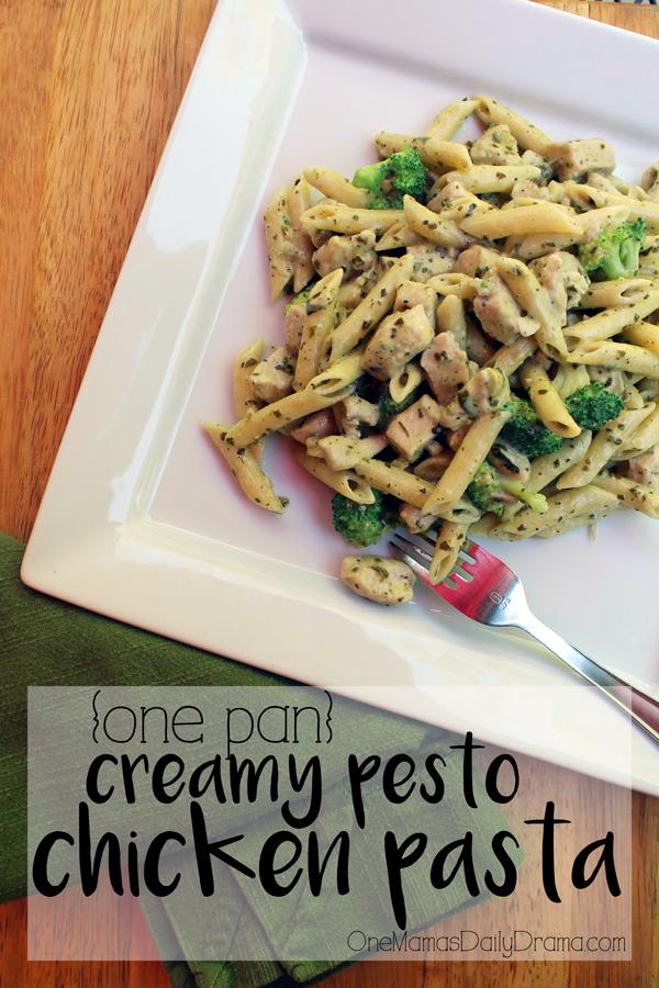 One pan creamy pesto chicken pasta | Fantastic weeknight family meal recipe #ad #OnePanPronto