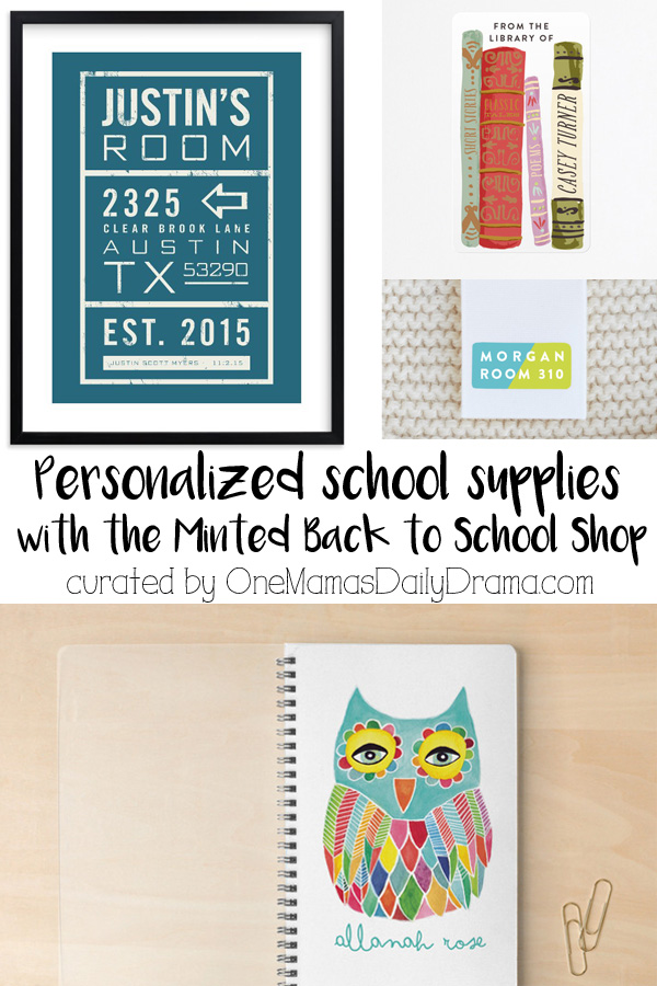 Personalized school supplies with the Minted Back to School Shop | Labels, notebooks, teacher gifts, & more curated by OneMamasDailyDrama.com (sponsored by Minted)