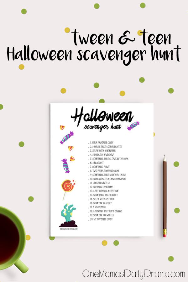 Halloween Scavenger Hunt For Tweens And Teens Kids Activities For Oct