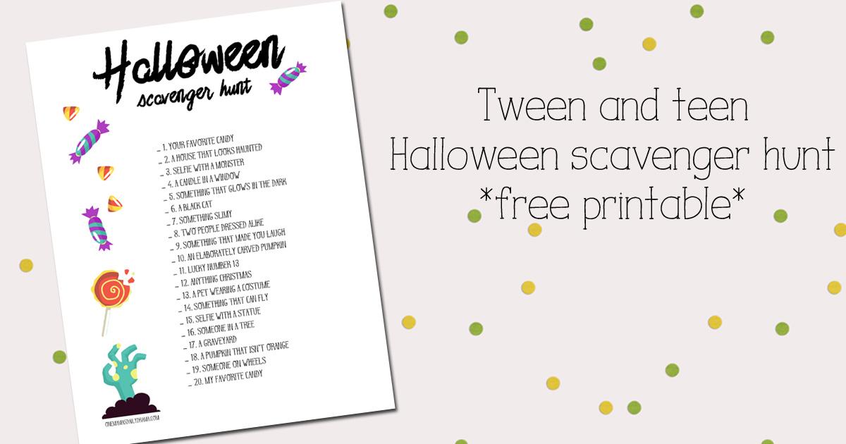 Tween and teen Halloween scavenger hunt printable
