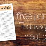 Printable Thanksgiving meal plan for hosting dinner