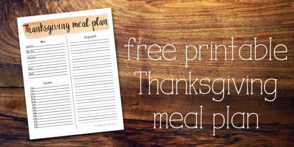 Printable Thanksgiving meal plan page