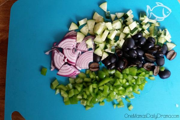 Simple chopped Greek salad recipe ingredients