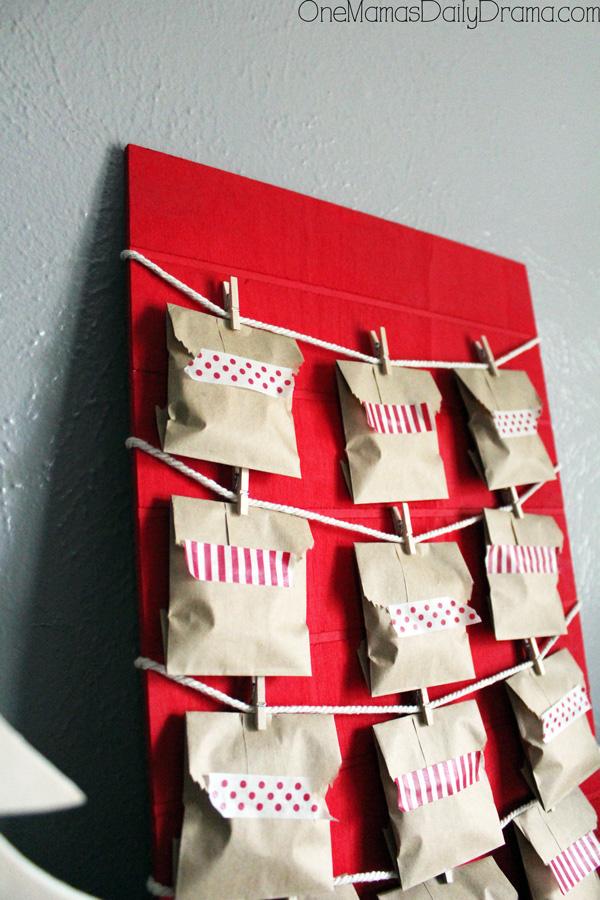closeup of Christmas countdown calendar envelopes with washi tape