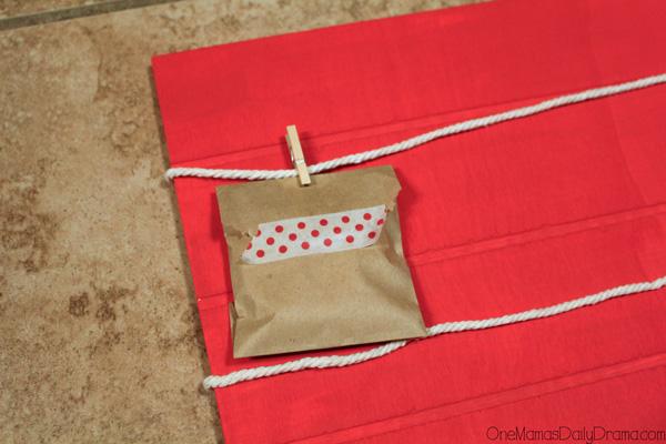 12 Days of Christmas countdown calendar: clothespin each pocket