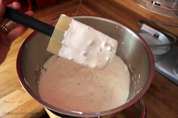 No-churn peppermint chocolate chip ice cream: adding the chips