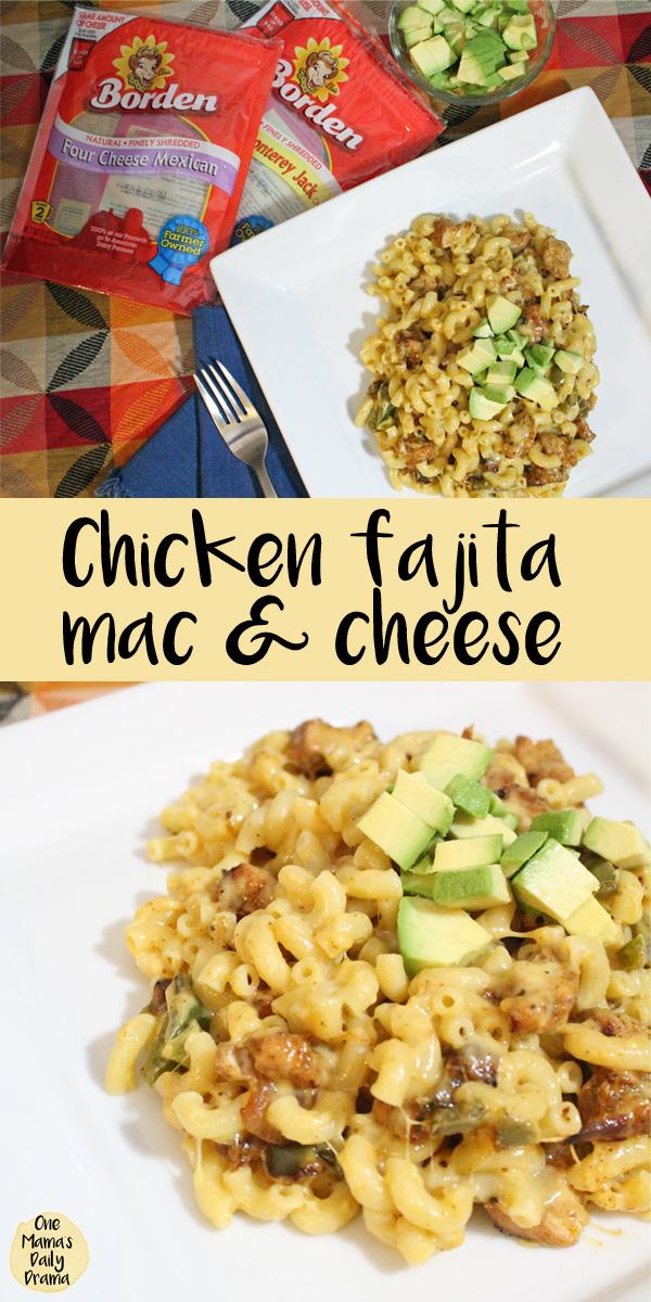 Chicken fajita macaroni and cheese recipe featuring Borden® Cheese