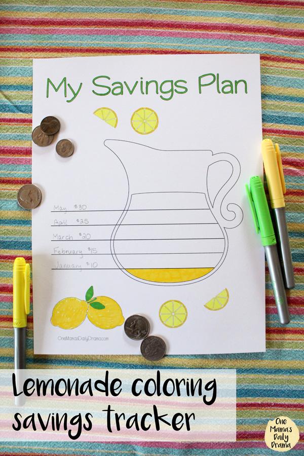 Lemonade pitcher coloring savings tracker