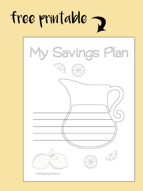 Free printable! Lemonade pitcher coloring savings tracker
