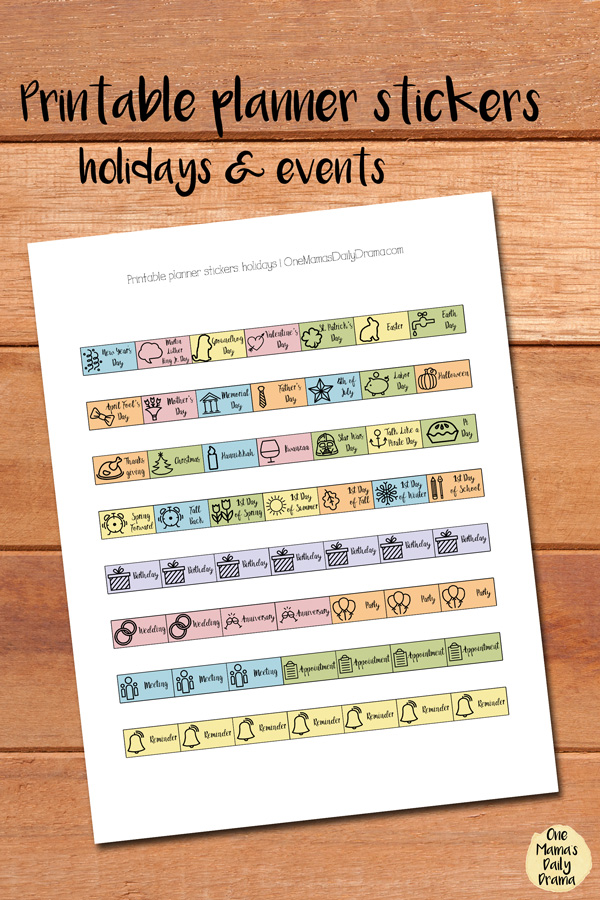 Planner stickers for holidays and events