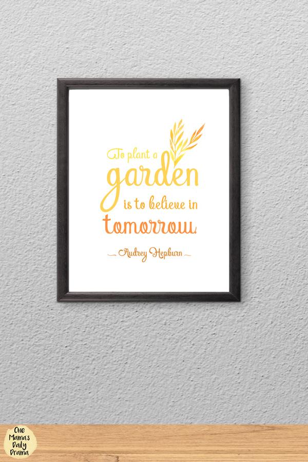 Audrey Hepburn quote about hope/garden