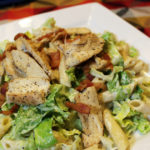 Chicken caesar pasta salad with bacon