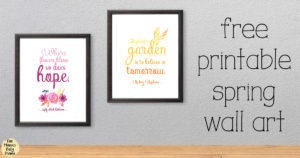 Free printable spring wall art with quotes, flowers, ombre text