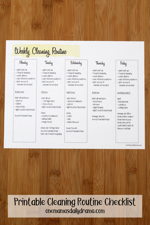 printable cleaning routine