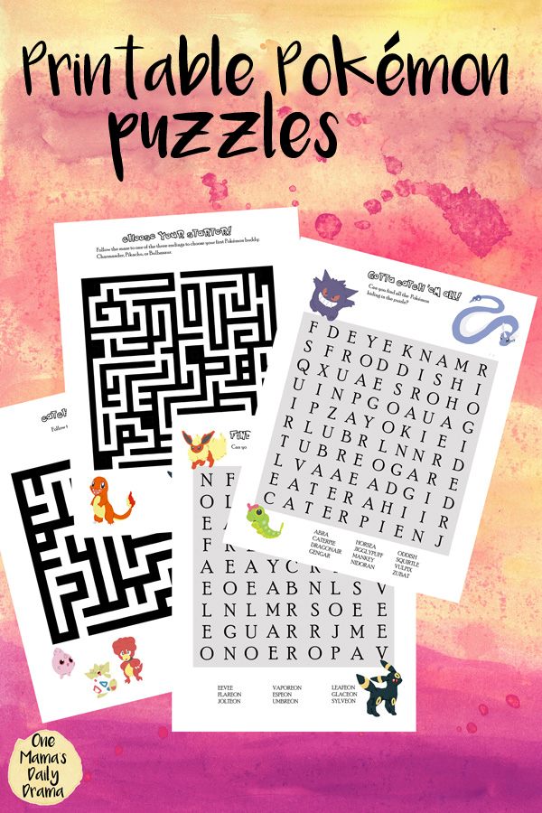 Printable Pokemon Puzzles - mazes and word search