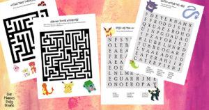 Free printable Pokémon puzzles – maze and word search