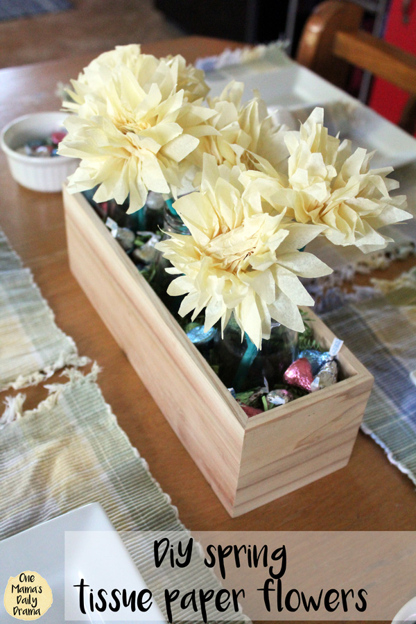 DiY spring tissue paper flowers | Easter centerpiece home decor