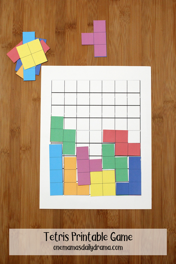 picture about Game Pieces Printable referred to as Tetris Printable Recreation for Children STEM Studying Video games