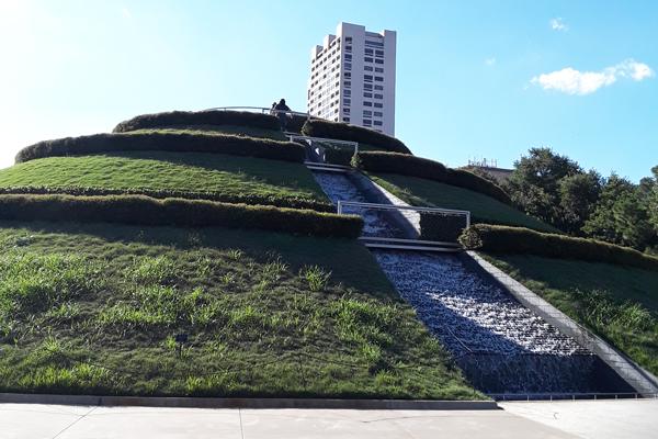 Spiral hill walkway at Hermann Park Centennial Gardens