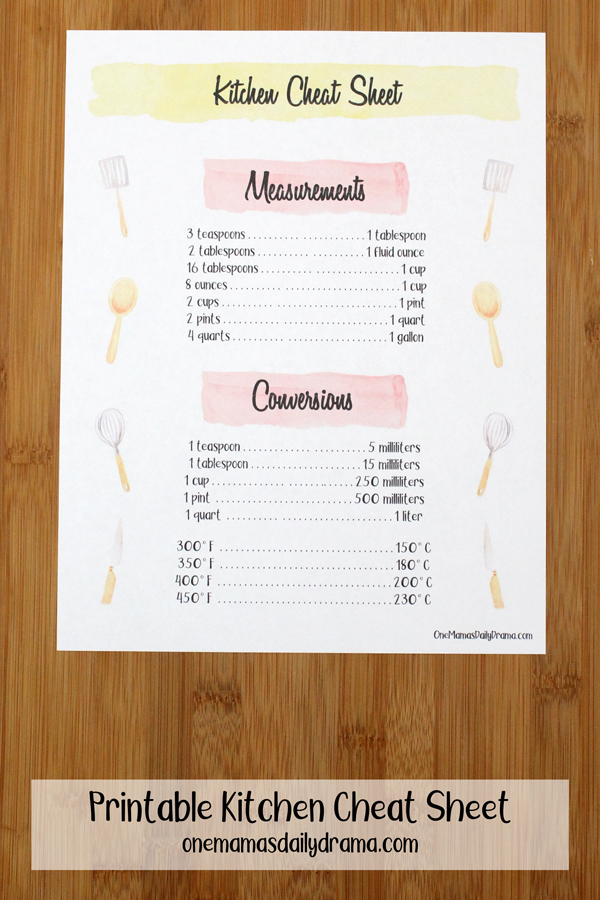 printable kitchen cheat sheet