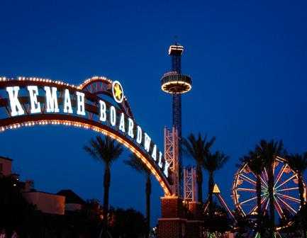 Kemah Boardwalk lights and ferris wheel