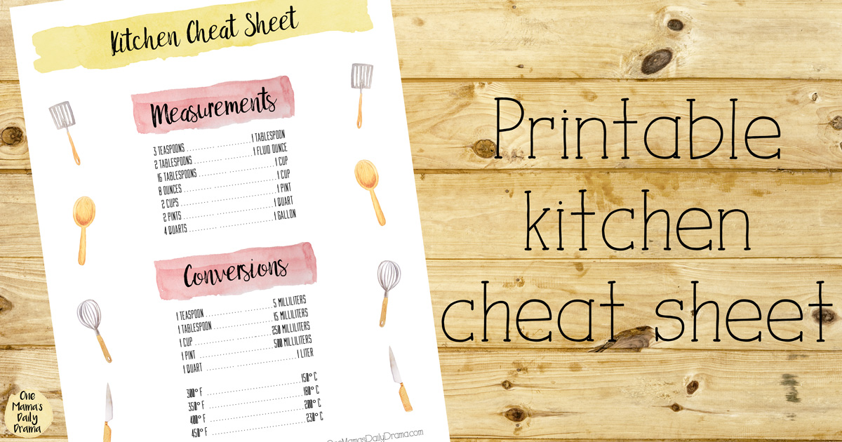 Printable Kitchen Cheat Sheet | Printable Planner Inserts
