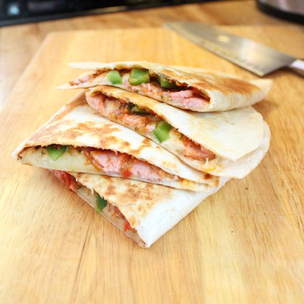 Italian quesadillas with ham and provolone