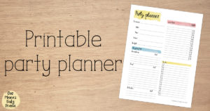 Printable party planner | One page party planning sheet