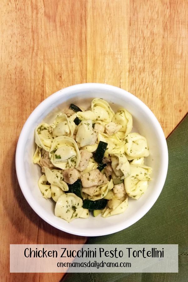 bowl of chicken zucchini pesto tortellini