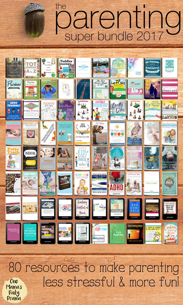 The Parening Super Bundle include 80 incredible resources {35 eBooks, 10 eCourses, 2 audios, 23 printables, 9 workbooks, and 1 membership site} for only $29.97. Don't wait too long; this offer expires on Aug. 14, 2017 at midnight EST.