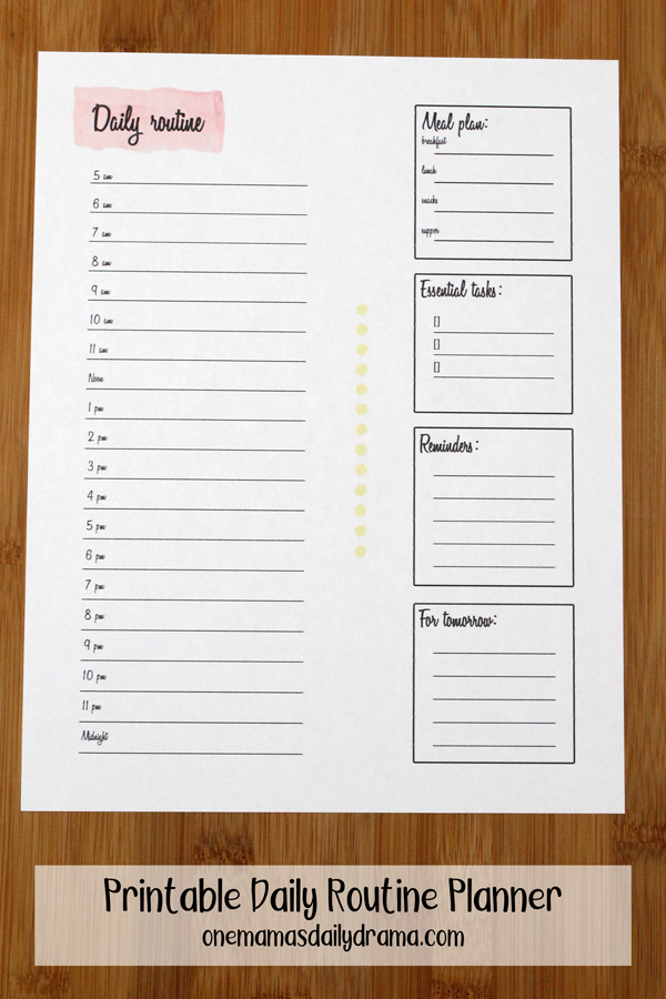 printable daily routine planner