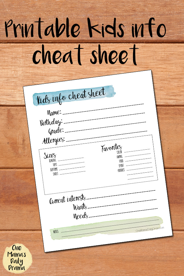 Printable kids info cheat sheet | Keep track of sizes, favorites, and other info to making shopping for your child easy.