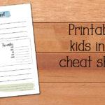 Free printable kids info cheat sheet