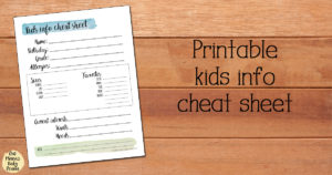 Free printable kids info cheat sheet