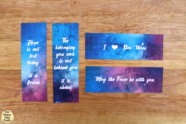 watercolor bookmark with Star Wars quotes