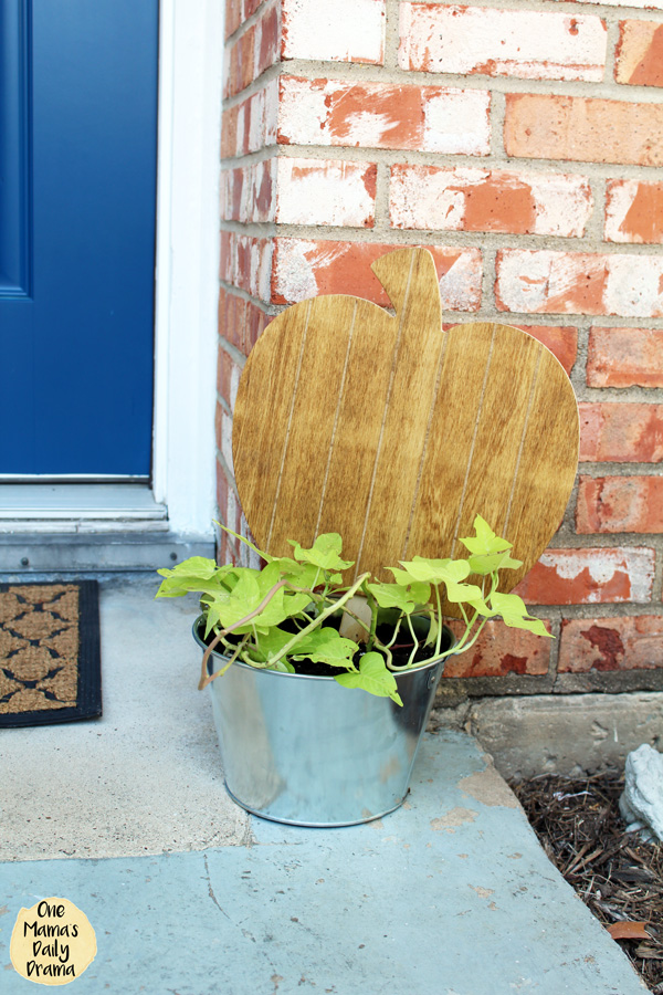 wood pumpkin cutout sitting on a metal container planted with sweet potato vines