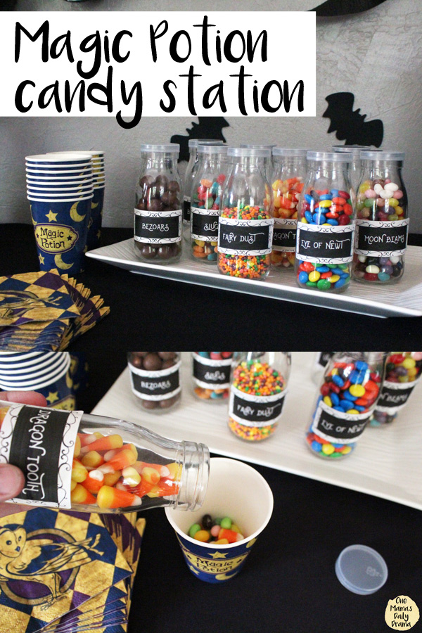 collage of candies in bottles and paper wizard cups on a black tablecloth